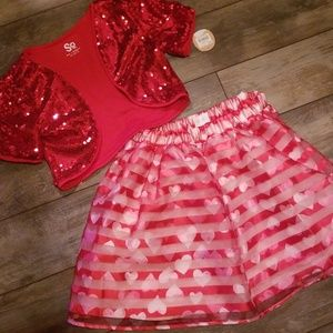 10/12 Girls Red Children's Place skirt and top